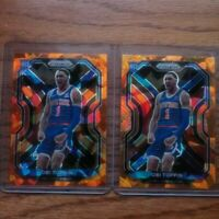 2020-2021 Panini Prizm Obi Toppin Orange Cracked Ice Rookie Card New York Knicks