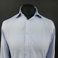 Tommy Hilfiger Mens Formal Shirt 39 15.5 (SMALL) Long Sleeve Blue Fitted Striped
