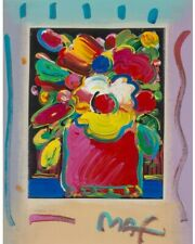 Peter Max - Abstract Flowers I No. 71, Reg #78882, Mix Media Painting on Canvas