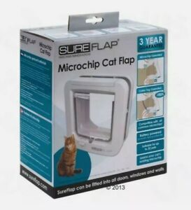 Genuine Sure Flap Microchip Pets Door Large Cat Flap Small Dog Big Cat White New