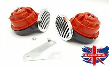 2x Red Chrome DC 12V 510HZ 110dB Snail Siren  Electric Horn for Car Motorcycle