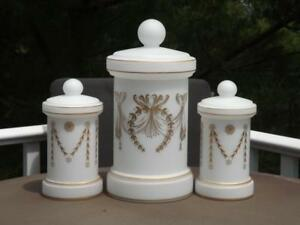 3 Mid Century Modern Frosted Glass Covered Canisters Jars Le Verre de Vianne EXC