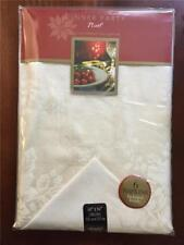 "Dinner Party Noel 60""x84"" Oblong Christmas Tablecloth/Napkin Set IVORY NEW​"