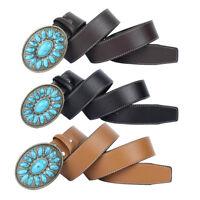 Western Cowboy Boho PU Leather Belt with Buckle Gemstone Men Boy Accessories