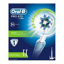 Braun Oral-B PRO 670 CrossAction Rechargeable Electric Toothbrush 2 BRUSH Heads