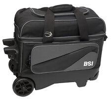 BSI Large Wheel Roller 2 Ball Double Roller Bowling Bag Black/Gray