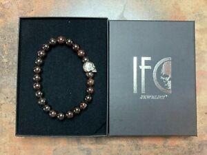 Bracelet Beads Stone Garnet Skull Silver 925 Man/Woman Any Size