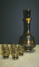 Czech Art Deco Gold Striped Smoked Glass Decanter Set w/5 glasses