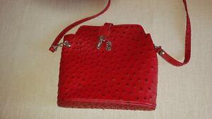 Lederhandtasche Leder Tasche rot Italien Straußenleder WIE NEU