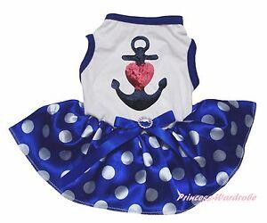 4th July Sailor Heart White Cotton Top Blue Dots Skirt Pet Dog Puppy Cat Dress