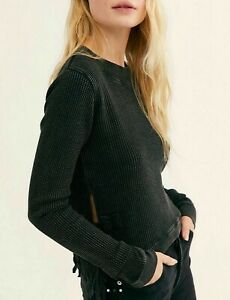 Free People Black One Cropped Interlaken Top Size XS Brand New With Tags