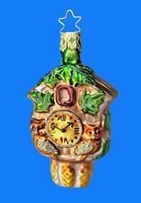 GRN INGE GLAS BLACK FOREST CUCKOO CLOCK GERMAN BLOWN GLASS CHRISTMAS ORNAMENT