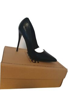 Asos High Heels Black Leather Snakeskin Size 6 Brand New Without Box