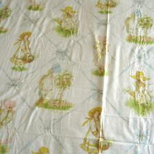 Vintage 1976 Holly Hobbie Twin Flat Sheet Ribbons Fabric