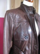 Ladies NEXT brown real leather JACKET COAT size UK 10 belted SAFARI biker