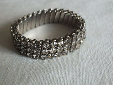 "Beautiful Stretch Bracelet Silver Tone Expansion Clear Rhinestones 1/2"" W Vintag"