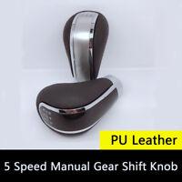 Manual Car Gear Shift Knob Shifter 5 Speed w/ Adapters PU Leather Sports Styling