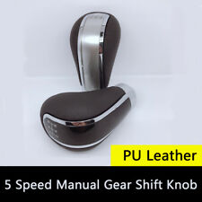 Manual Car Gear Shift Knob Shifter 5 Speed w/ Adapters PU Leather Sports Styling