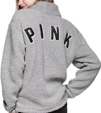 NEW Victoria's Secret PINK SHERPA SWEATER Quarter ZIP Pullover Light Grey LARGE