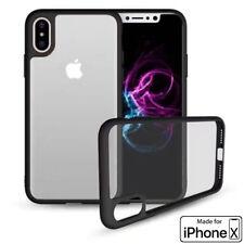 iPhone X Phone Case (TPU Mold & Colored Bumper + Transparent Back) Black