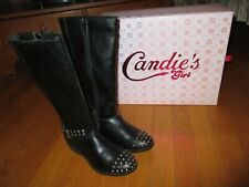 New Girls Candies Black Studded Faux Leather Boots Size 2M