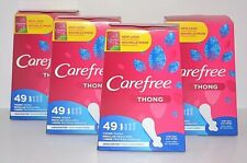 4 CAREFREE THONG REGULAR LINERS UNSCENTED WITH STAY WINGS PANTILINERS 196 TOTAL