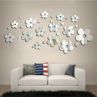 14pcs 3D Mirror Flower Sticker Art Design Decal Wall Decals Home Decor Removable
