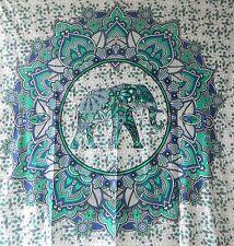 Copriletto matrimoniale indiano Elefante Fiore di Loto blu 235x200cm cotone
