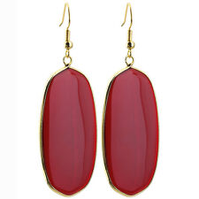 Red Crystal Glass Chakra Oval Dangle Pendant Drop Hook Ear Earrings Jewelry