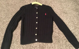 polo ralph lauren girls Cable Knit cardigan Navy Blue Size Age 6