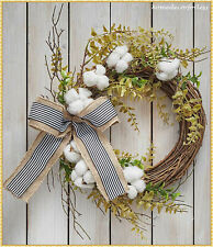 Country Cotton Boll Wreath Striped Bow Natural Rustic Farmhouse Wall Decor 19""