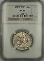 1923-R Italy 1 Lira Coin NGC MS-63 Choice BU *Scarce Condition* JA