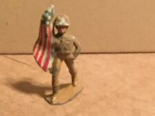"""Vintage BARCLAY """"Soldier With American Flag"""" Figures Painted 3"""""""