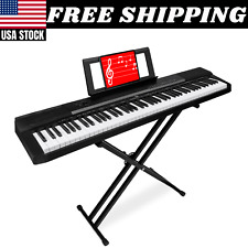 88 Key Digital Keyboard Piano W Stand Set Semi Weighted Keys Sustain Pedal Music