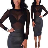 Ladies Sheer Crew Neck Transparent Mesh Bodycon Blouse T-shirt Tops Clubwear#l
