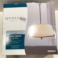 Quoizel South Beach Bronze 4 Light Pendant White Linen Shade 0809819