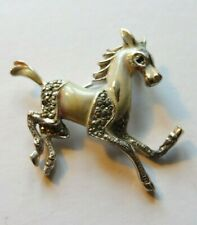 1950s VINTAGE/ANTIQUE BROOCH/PIN ENAMELLED  & MARCASITE RUNNING HORSE