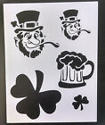 "Shamrock St. Patricks Day Leprechaun Beer 8.5"" x 11"" Stencil FAST FREE SHIPPING"