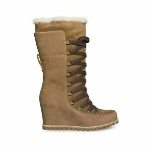 UGG MASON CHESTNUT SUEDE WATERPROOF TALL LACE WEDGE WOMEN`S BOOTS SIZE 7.5 NEW