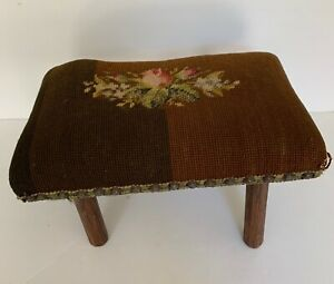 Antique PrimitiveCricket Footstool Needlepoint Cover Wonky Legs