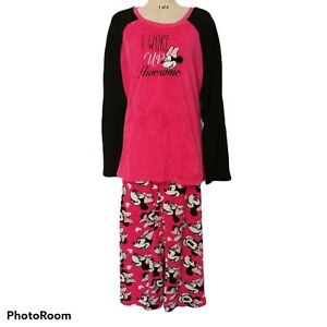 """Walt Disney Minnie Mouse Pink Fleece Pajamas """"I woke up Awesome"""" 2X (18/20)"""