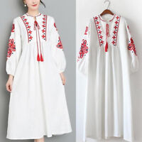 Women Mexican Ethnic Embroidered Dress Hippie Blouse Boho Long Maxi Loose Dress