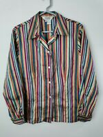 Allison Taylor Women's Blouse 100% Silk Long Sleeve Striped Multicolor Size L