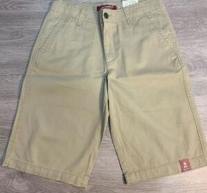 NWT Arizona Jean Boys Size 18 Regular Tan Chino Khaki Classic Shorts NEW