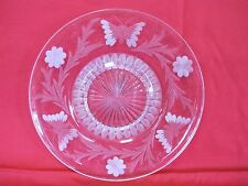 "Vintage Etched Butterfly And Flowers 10"" Bottom Plate"