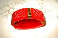 Gorgeous Bakelite Carved Hinged RED Bracelet, this piece is Exceptional!