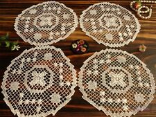 "4PCS -Vtg HAND Crocheted Filet NET LACE Doilies Coasters White- RAISED Flower 6"""