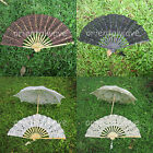 Handmade Lady Cotton Lace Parasol Umbrella /Hand fan for Wedding Bridal You Pick