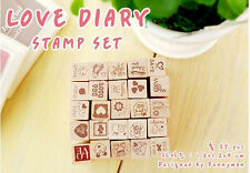 Korean 25pcs Wooden Box Lovely Diary Pattern Stamp Rubber Multiduty Writing Art!