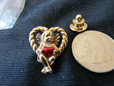 ANGEL OF LOVE RED ACRYLIC HEART  VINTAGE GOLD TONE  COLLECTIBLE LAPEL PIN